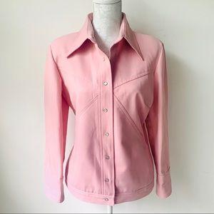 Vintage 70's Pink Geometric Snap Polyester Jacket
